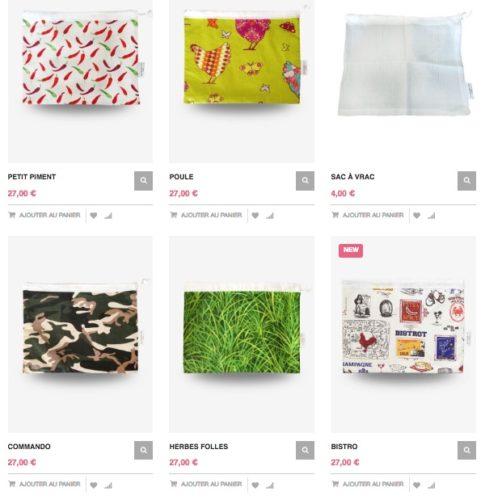 Différents motifs existants pour les emballages à légumes SacASalades