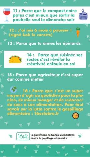 Infographie par 16octobre.fr des raisons de lutter contre le gaspillage alimentaire