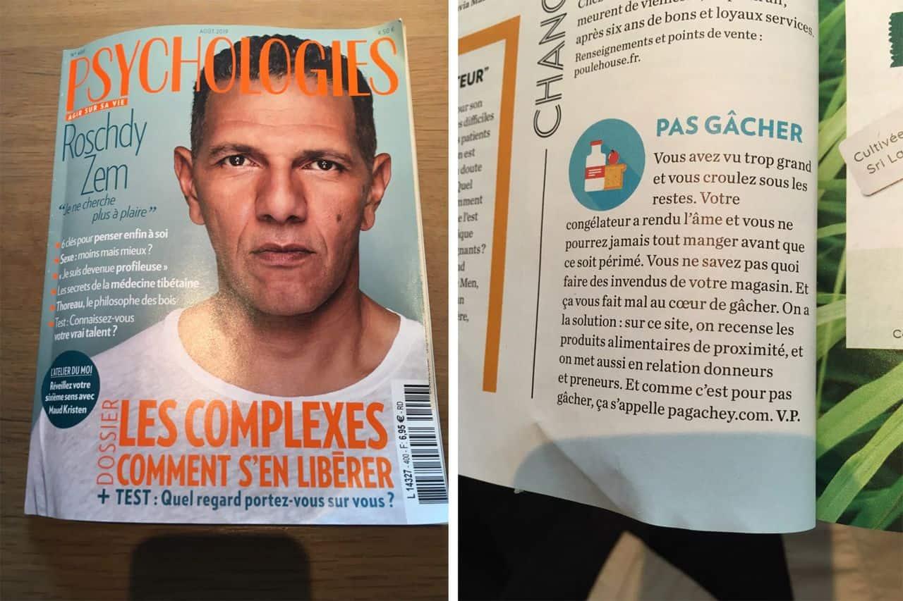 Le magazine Psychologies (été 2019) propose Pagachey à ses lecteurs